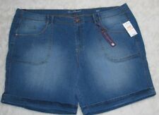 Gloria Vanderbilt Size 24W Keegan Indigo Denim Slimming Shorts Tarsus Wash