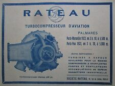 1928 PUB SOCIETE RATEAU LA COURNEUVE TURBOCOMPRESSEUR 450 CV AVIATION AVION AD