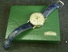 Rare Early 1943 ANGELUS CHRONODATO Kalenderchronograph im Edelstahlgehäuse & Box