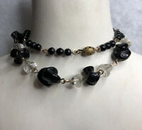 Edwardian Antique Glass Necklace 1910s Cigar Clasp Wired Black Beaded Retro Old