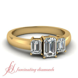 1.20 Ct 3 Stone Emerald Cut Diamond Engagement Ring In Yellow Gold For Women GIA