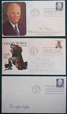 Three First Day of issue Covers 2 Dwight Eisenhower 1970 & 1 Valley Forge 1977