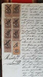 PERU multiple revenue pair 1+5 Sol plata 1870 1871 on legal sealed document Lima
