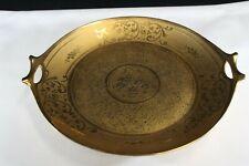 LR Vintage Hollywood Regency Gold Gilt Two-Handled Flower Basket Plate Signed