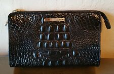 Brahmin PENNY Cosmetic Case or Clutch Bag Purse Black Croc Leather, Gold Accents