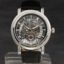 Skeleton Dial Automatic Mechanical Mens Wrist Watch Date Leather Strap Steampunk