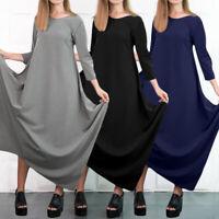 Women Maxi Dress Ladies Long Sleeve Lagenlook Italian Drape Baggy Kaftan UK 8-26