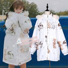 Japanese Harajuku Sweet Lolita Rabbit Print Winter Padded jacket Hoodie Coat