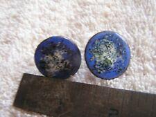Vintage Screwback Copper Enamel Earrings Blue