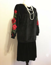 New Women's Black Velvet Evening Party Dress Floral Long Sleeve Loose Dress SZ M