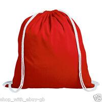 10 x Plain Red 100% Cotton Drawstring Rucksack Tote Bags Ladies Backpack Bag BN