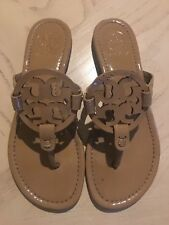 Tory Burch Miller Sand Patent Leather Thong Sandals Women Size 6