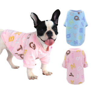 Cozy Dog Pajamas Warm Fleece Winter Clothes T Shirt Small Puppy Cat Pink Blue