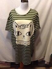 Allegra K Womens Size Small Tunic Dress Green Stripe Say Hello Cat DD17