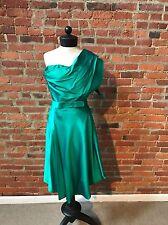Vintage Nina Ricci Dress Green Satin One Shoulder Emerald Green Handmade 4