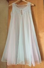 VINTAGE PINK & BLUE SHEER DOUBLE CHIFFON BABYDOLL SLIP DRESS NIGHTGOWN S M L
