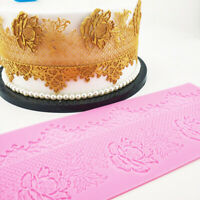 Edible Large Rose Rattan Lace Cake Silicone Embossing Mat Fondant Candy Imprint