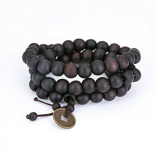 9mm Sandalwood Coins Buddha Meditation 62 Beaded Blessing Prayer Bracelet