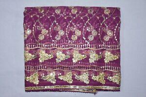 Indian Stunning Wedding Dupatta Long Scarf Floral Hand Sequins Beaded Veil Stole