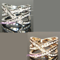 18K White Gold Plated Ring made with Swarovski Crystal ZIRCONIA  Size O Q  R119