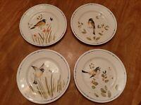 """FITZ & FLOYD china OISEAU pattern DINNER PLATES 10-1/4""""  set of 4"""