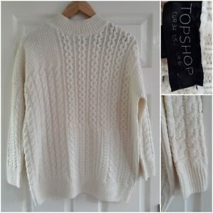 Topshop Cream Chunky Jumper Size 6 Cable Knit High Neck Warm Autumn Winter Cosy