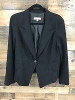 New York & Company Women's Black Single Button Blazer Jacket Size 16