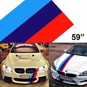 "59"" M-Colored Stripe Custom Exterior Decor Sticker For BMW Body Hood Bumper Roof"