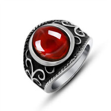Garnet Stainless Steel Fashion Rings
