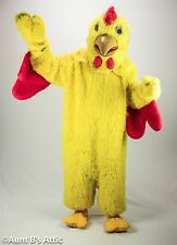 Chicken Mascot Costume 8 Piece Yellow Faux Fur Suit Mitts Socks Spats & Head L/X