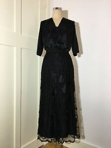 BLACK LACE AND SILK MOURNING DRESS - 1915