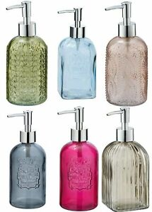 Wenko Vetro Retro Style Glass Soap Dispenser Blue Brown Green Grey Rose Pink