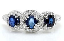 2.85 Carat Natural Sapphire & Diamonds 14K Solid White Gold Women Ring