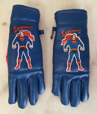 SUPERMAN Foam Leather Like Vinyl Gloves DC Comics 1971