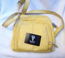Tignanello Pebble Canary Yellow Leather Zip Top Multi Pocket Crossbody Bag