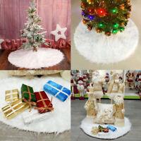 Long Luxury Christmas Tree Skirt Fur Festive Xmas Floor Decor Ornament