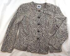Leslie Fay Jacket Women Size 10P Black Beige Zebra Print Crepe Original Buttons