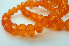 70 pce Orange Faceted Crystal Cut Abacus Glass Beads 8mm x 6mm