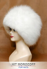 Pure White SAGA SHADOW FOX Fur Hat Russian Winter Schapka Pelzmütze Fellmütze