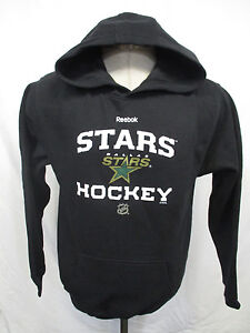 Dallas Stars Youth M L Reebok Pullover Hooded Sweatshirt Black NHL