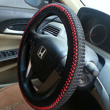 Cool Black/Red Elastic Ice Silk DIY Car Steering Wheel Cover Sets Suit 36-38CM
