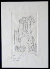 Vintage DALA HORSE Mid Century Modern ETCHING ENGRAVING Art Print /Signed GUZMAN