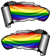 Small Pair Ripped Open Metal Rip GASH LGBT Gay Pride Rainbow Flag Car Sticker