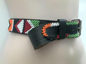 BELT Black Leather Intricate Beading Tooled Vintage / Boho / Retro / Tribal L/XL
