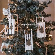 Slitta Decorazione Di Natale Set di 3 Natale arredamento shabby chic bianco regalo FESTIVO