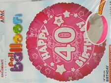 "18"" 40th HELIUM FOIL BALLOON HAPPY 40th BIRTHDAY PARTY Pink / Female birthday"