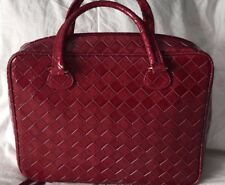 Estee Lauder Red Tote Faux Leather Perfect for Makeup/Laptop/Purse/Travel
