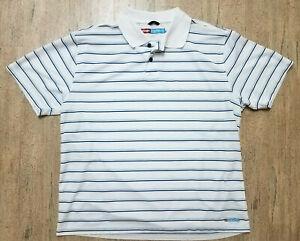 Wrangler Breathe Dri X-Large XL Shirt White Blue Striped Short Sleeve Polo