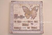 Wall Plaque Butterfly A Home is Made Of Bricks Sign Cream Beige Wood 30cm SG1752
