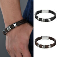 Black Men Braided Leather Bracelet For Male Gifts Accessories Jewelry Bangle